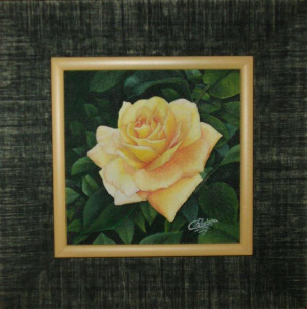 Cuadro realista pintado a mano con oleo sobre lienzo de rosa amarilla