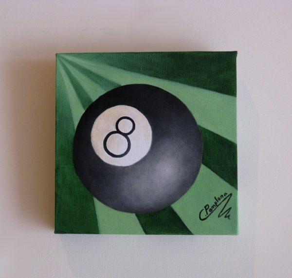 Cuadro abstracto pintado a mano con oleo sobre lienzo con una bola de billar (1)