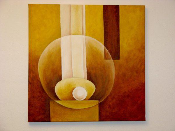 Cuadro abstracto pintado a mano con pintura oleo sobre lienzo de juego de esferas (3)