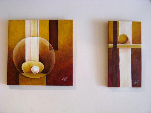 Pareja de cuadros abstractos pintado a mano con pintura oleo sobre lienzo de juego de esferas