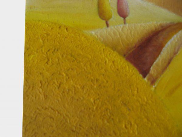 Detalle cuadro pintado a mano con pintura oleo sobre lienzo de verano
