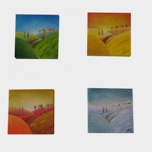Cuadro pintado a mano con pintura oleo sobre lienzo de las 4 estaciones