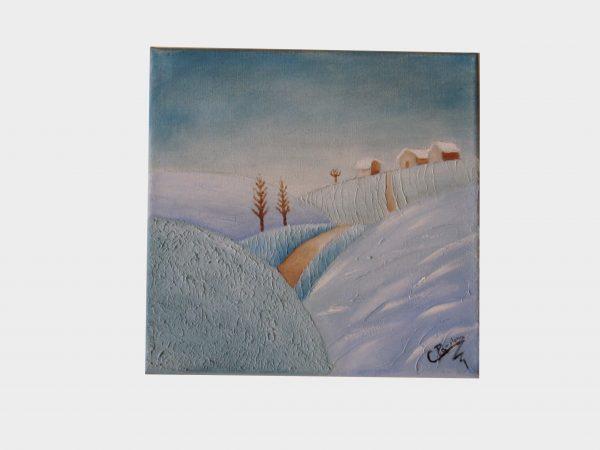Cuadro pintado a mano con pintura oleo sobre lienzo de Invierno