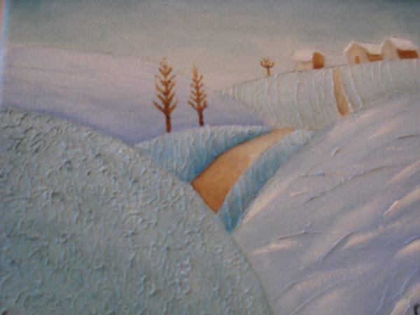 Detalle cuadro pintado a mano con pintura oleo sobre lienzo de invierno