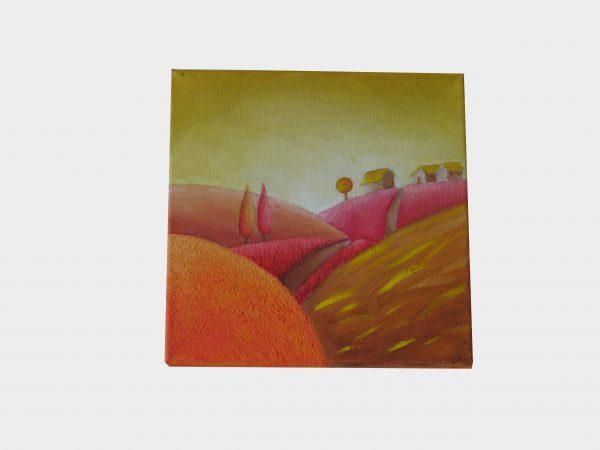 Cuadro pintado a mano con pintura oleo sobre lienzo de otoño