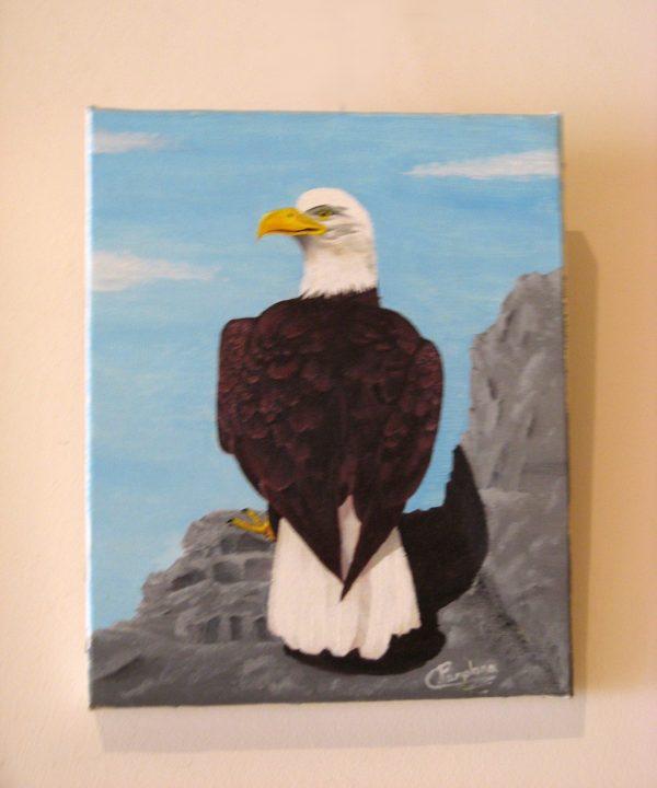 Cuadro realista pintado a mano con oleo sobre lienzo de un águila