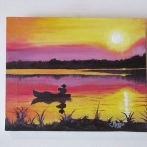 Cuadro realista pintado a mano con pintura oleo sobre lienzo de un atardecer en el lago