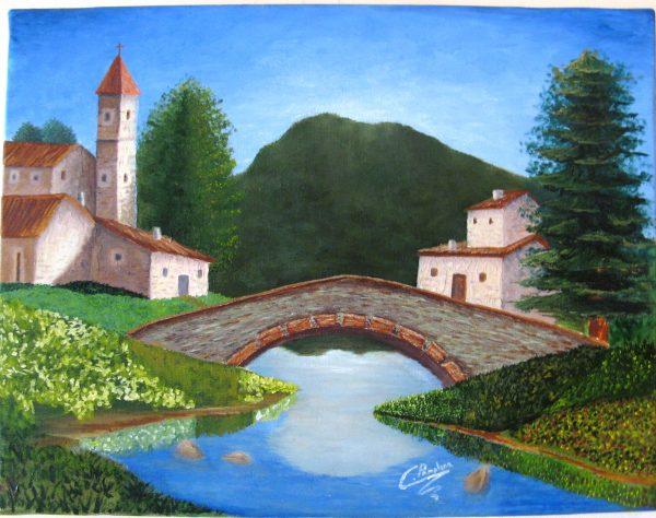 Cuadro realista pintado a mano con pinturas al oleo sobre lienzo de pueblo (2)