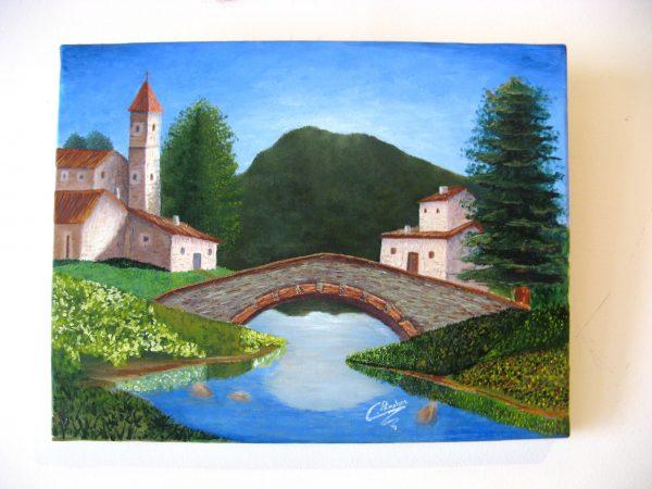 Cuadro realista pintado a mano con pinturas al oleo sobre lienzo de pueblo