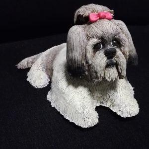 escultura personalizada de la perrita Nala de raza shit tzu