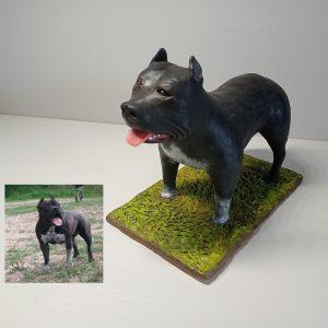 Perro americano bully arcilla polimerica