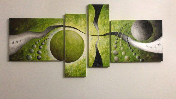 Cuadro abstracto pintado a mano con oleo sobre lienzo