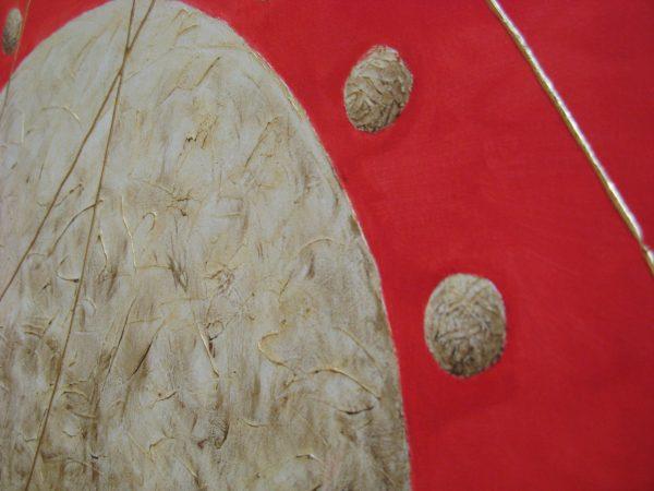 Detalles del cuadro abstracto pintado a mano con oleo sobre lienzo de pareja en el universo