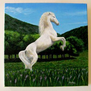 Cuadro pintado a mano con óleo sobre lienzo de un caballo rampante
