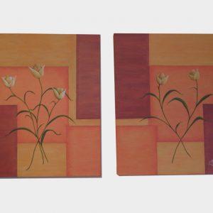 Cuadro abstracto personalizado de 5 flores y pintado a mano con pinturas al óleo, sobre lienzo. Cada una de las flores simboliza a un miembro de la familia.