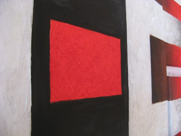 Cuadro abstracto pintado a mano con oleo sobre lienzo titulado la simetria