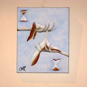 Cuadro abstracto pintado a mano con oleo sobre lienzo del tiempo