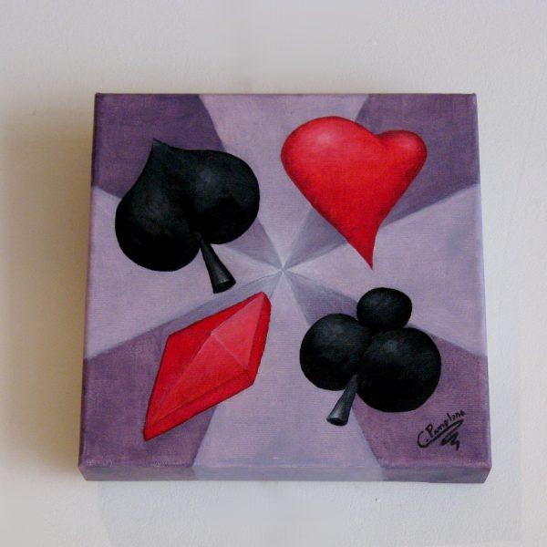 Cuadro abstracto pintado a mano con pinturas al oleo sobre lienzo del poker
