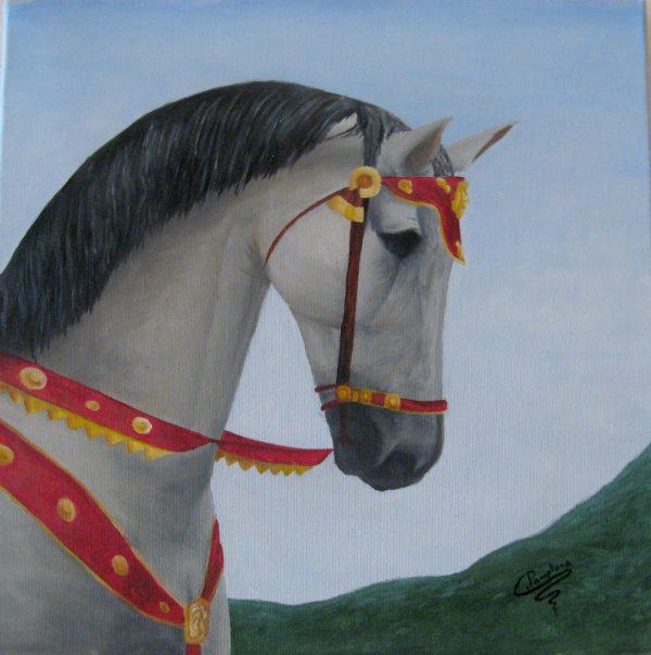 Cuadro realista pintado a mano con pinturas al oleo sobre lienzo de un caballo elegante