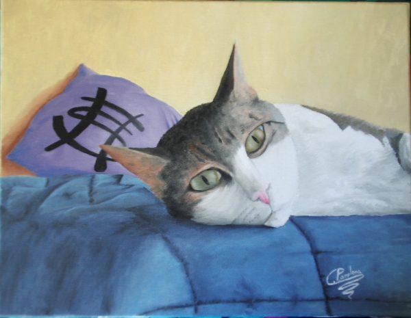 Cuadro realista y personalizado, de un gato descansando, y pintado a mano con pinturas al óleo sobre lienzo.